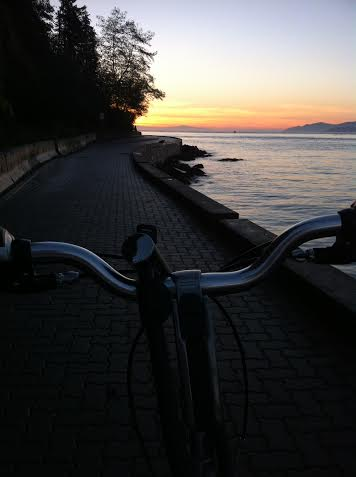 A nice sunset bike ride along the seawall in Vancouver, BC